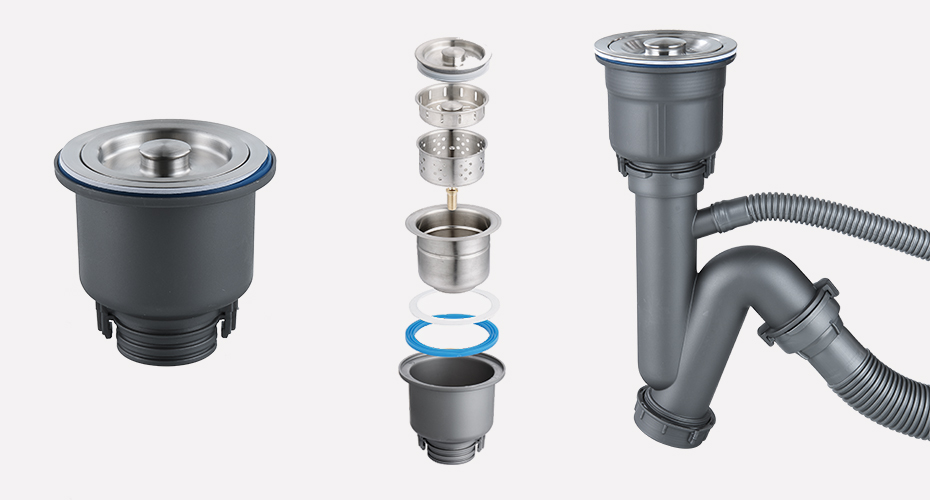 全钢快接单盆下水器产品展示