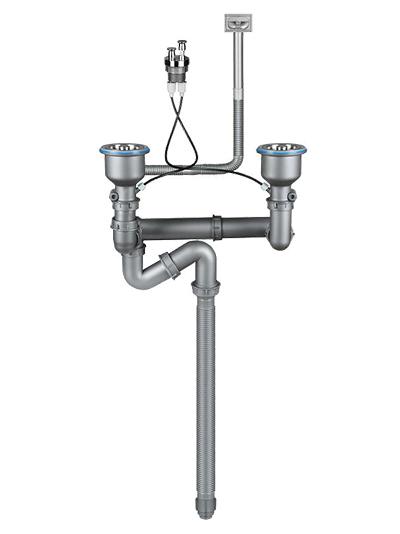 台控提拉式双盆下水器