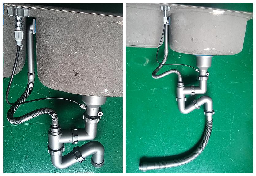单盆台控后置管下水