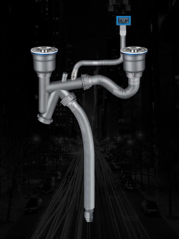 50管深V双盆水槽下水器