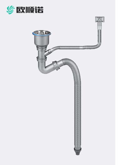50吹塑管单盆水槽下水器