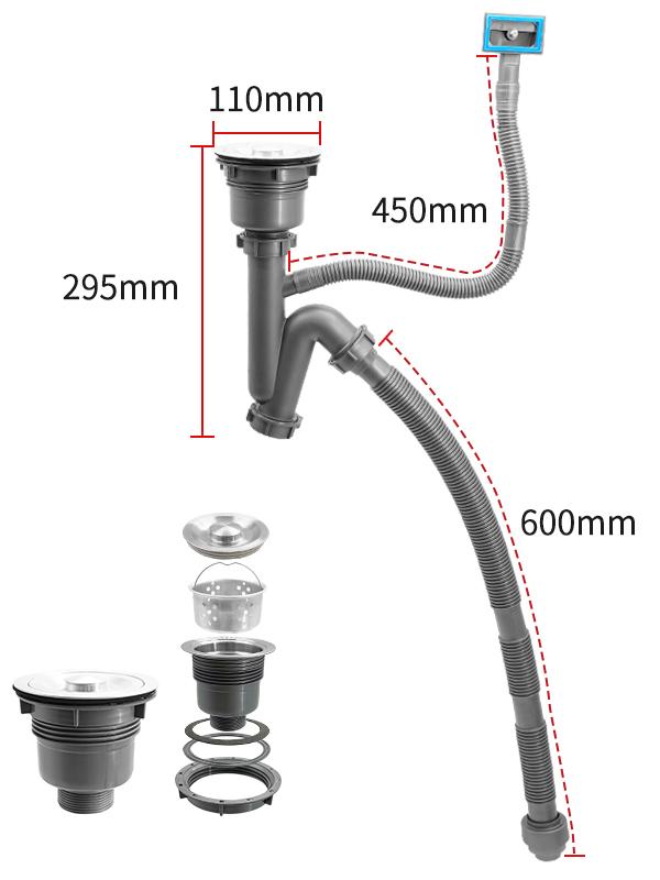 厂家直销的40深V单盆水槽下水套装