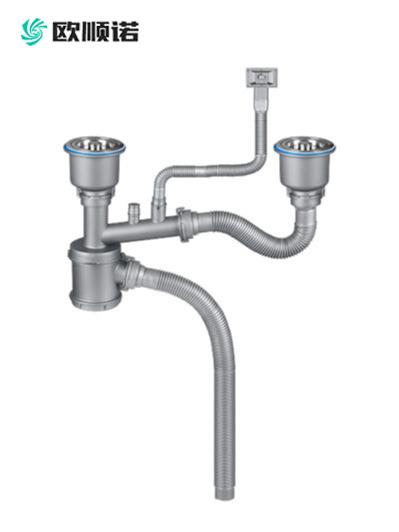 50快接葫芦形双盆水槽下水器