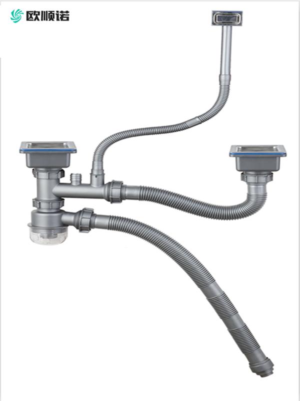 可连接净水器快速安装防臭防堵款50管双槽下水  方型下水头