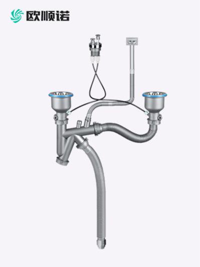 新款台控快接双盆水槽下水器