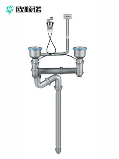 台控后置双盆水槽下水器