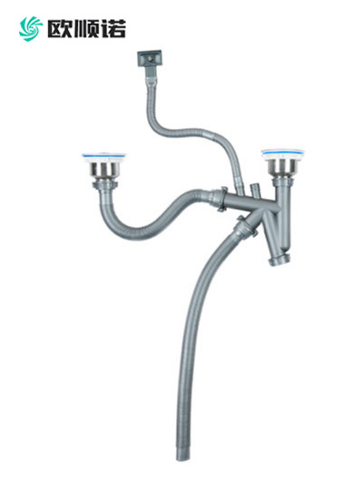 40管快接双盆水槽下水